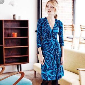 Boden Faux Wrap Henrietta Blue Day Dress Size 6